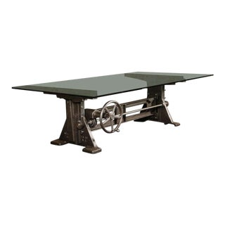 Industrial Cast Iron Adjustable Crank Table For Sale