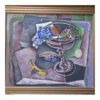 Mystery Artist Still Life Painting Abstract Cubism Pop Expressionism Modernism For Sale
