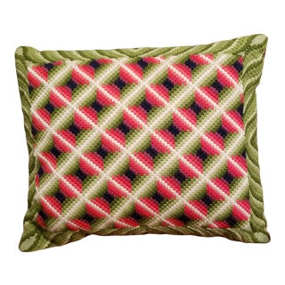 Vintage Multi-Color Geometric Needlepoint Pillow With Velvet Back For Sale