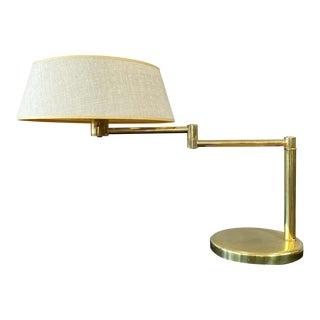 Walter Von Nessen for Nessen Lamps Brass Swing Arm Lamp Original Shade For Sale