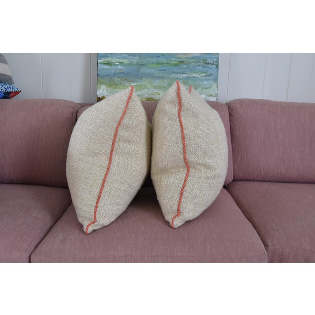 Neutral & Coral Cord Pillow Covers - a Pair - Image 5 of 7