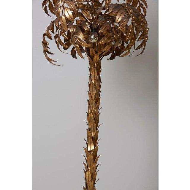 1970s Huge Gilt Metal Palm Tree Floor Lamp by Hans Kögl For Sale - Image 5 of 9
