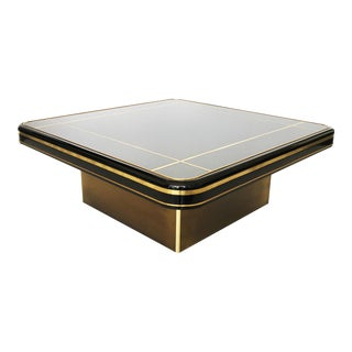 Black Lacquer and Brass Mastercraft Coffee Table For Sale