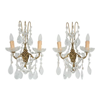 French Crystal Sconces - a Pair For Sale