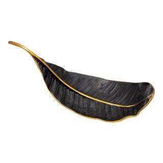 AURA LONDON Leef Decorative Black and Gold Leaf For Sale