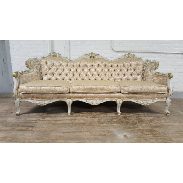 Victorian Antique Gold and Ivory Brocade Tufted Sofa - Image 2 of 3