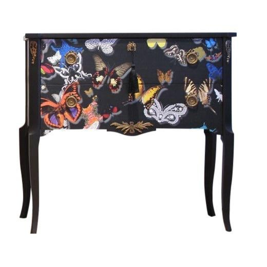 Gustavian Hauptbyrå with marble slab and frame in full matt black, redesigned with a custom lacquered butterflies finish....