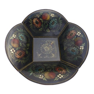 Antique Toleware Bowl With New England Decoration Circa 1860 For Sale