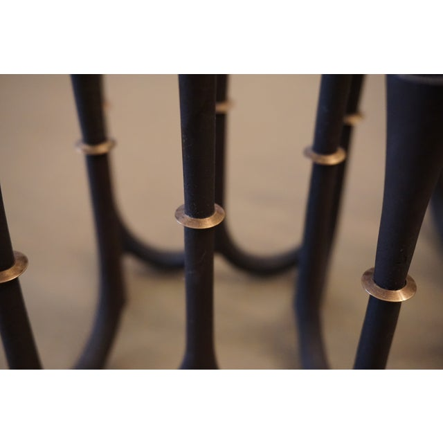 Mid-Century Modern Vintage Small Scandinavian Iron Candelabras - a Pair For Sale - Image 3 of 4