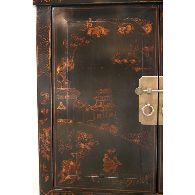 Late 20th Century Black Lacquer and Gilt Painted Cabinet For Sale - Image 9 of 11