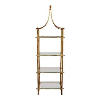 20th Century Italian Gold Gilt Faux Bamboo Pagoda Glass Etagere For Sale