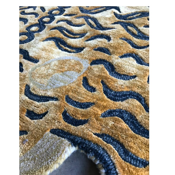 New modern handmade limited edition Tibet tiger rug in a wool viscose blend with shaved thick pile. Excellent condition....