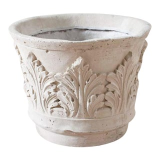 Outdoor Cast Resin Acanthus Leaf Planter With Limestone Finish For Sale