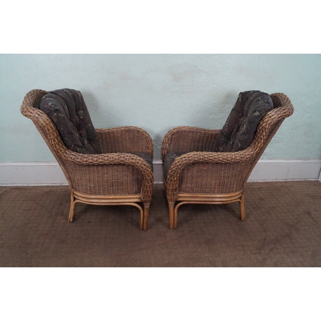 Braxton Culler Wicker Wing Lounge Chairs/Ottoman - Image 3 of 10