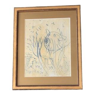 Original Vintage Peter Duncan Outsider Oil & Encaustic Abstract Painting Framed For Sale