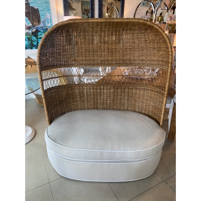 Vintage Wicker and Rattan Newly Upholstered Dome Hooded Loveseat Settee Chair For Sale - Image 4 of 13