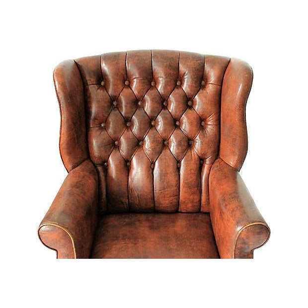Tufted Leather Wingback Chairs - A Pair - Image 7 of 10