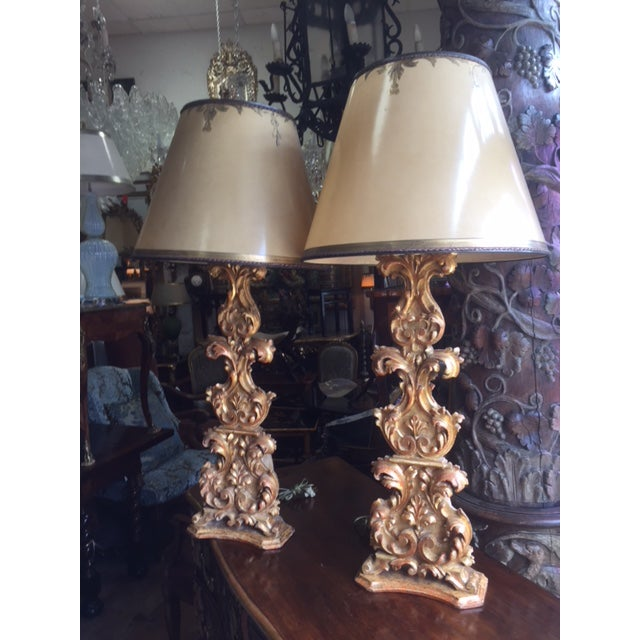 18th Century Carved Giltwood Candles Converted to Lamps - a Pair For Sale - Image 13 of 13