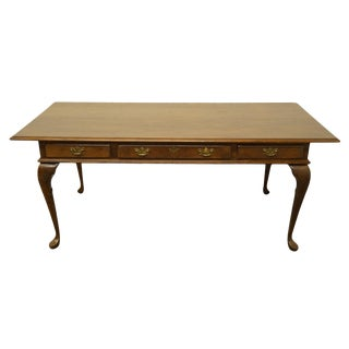 Late 20th Century Cushman Colonial Rustic Country French Solid Oak Writing Desk For Sale