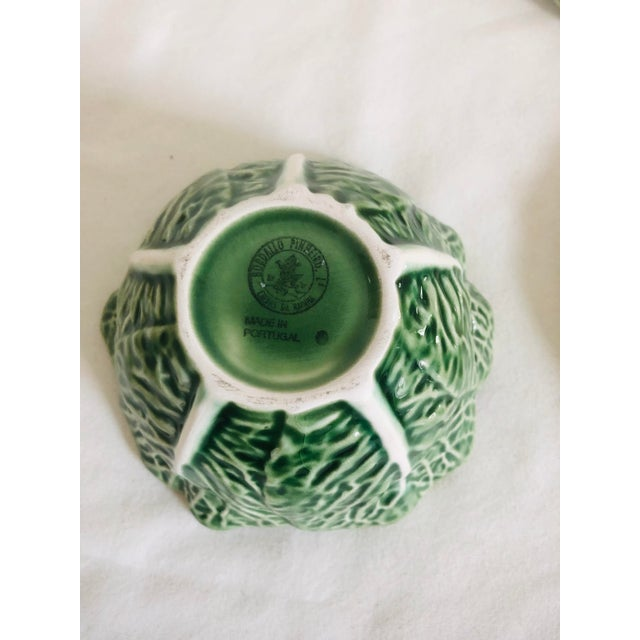 Green Bordallo Pinherio Condiment Bowl With Under Plate For Sale - Image 8 of 11
