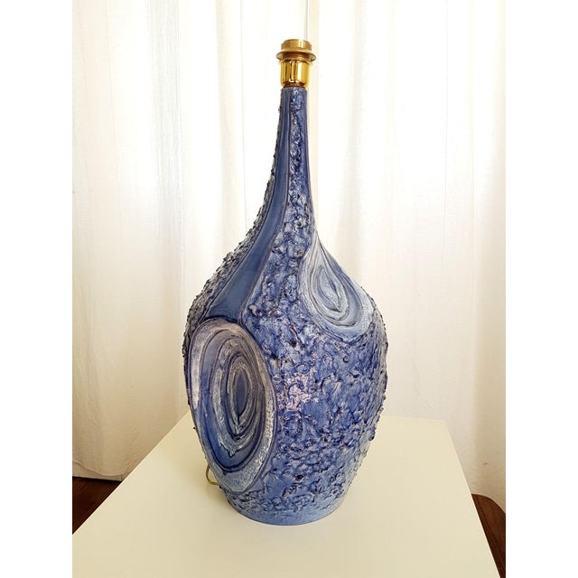 Signed Large Blue Ceramic Italian Lamps, 1980s Mediterranean Style - a Pair For Sale - Image 4 of 12