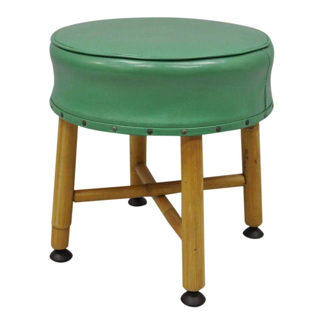 Vintage Green Vinyl Bamboo Wood Stool For Sale