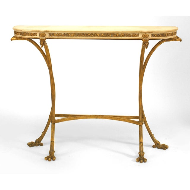 Louis XVI Pair of French Louis XVI Style Bronze Doré Console Tables For Sale - Image 3 of 8