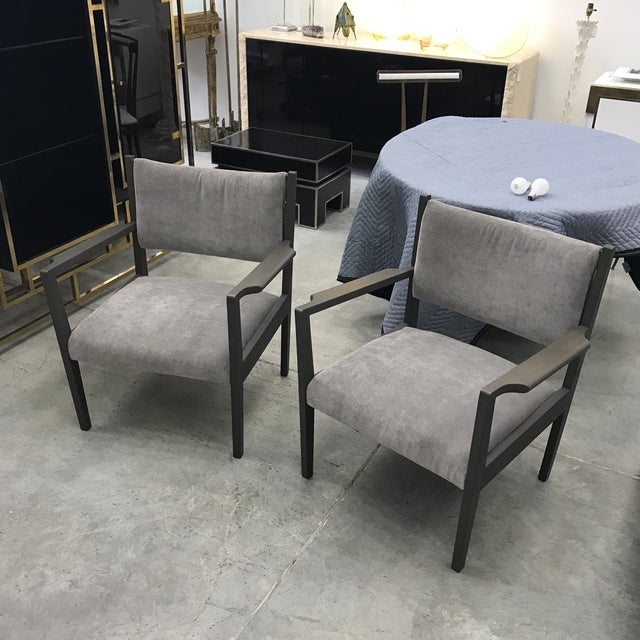 1950s Jens Risom Gray Velvet Armchairs - a Pair For Sale - Image 13 of 13