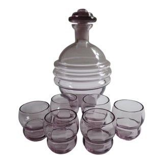 Mid-Century Space Age Purple Decanter and Glasses - Set of 7 For Sale