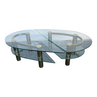 Hollywood Regency Mid Century Pair of Glass Top Side Tables or Coffee Table For Sale