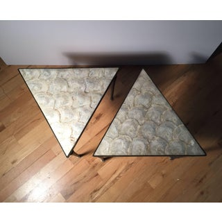 Vintage Designer Iron & Capiz Shell Triangle Tables Hollywood Regency Preview