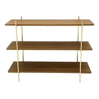 Lux Walnut & Gold Low Shelf