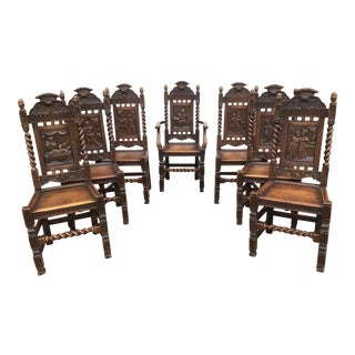 Antique British Play Carved Chairs - Set of 7 For Sale