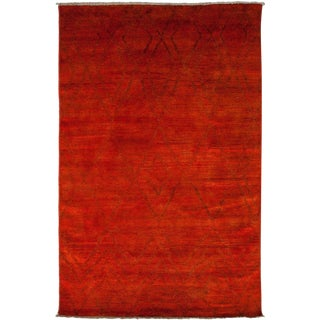 """Moroccan Beni Ourain Hand Knotted Red Wool Area Rug - 5' 10"""" X 8' 10"""" For Sale"""