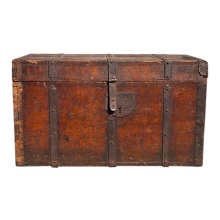 18th Century Antique Wooden Trunk For Sale