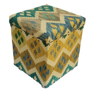 Cristi Ivory/Green Kilim Upholstered Handmade Storage Ottoman For Sale