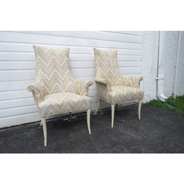 Vintage Painted Tall Pair of Living BedRoom Fireplace Side Chairs For Sale - Image 13 of 13