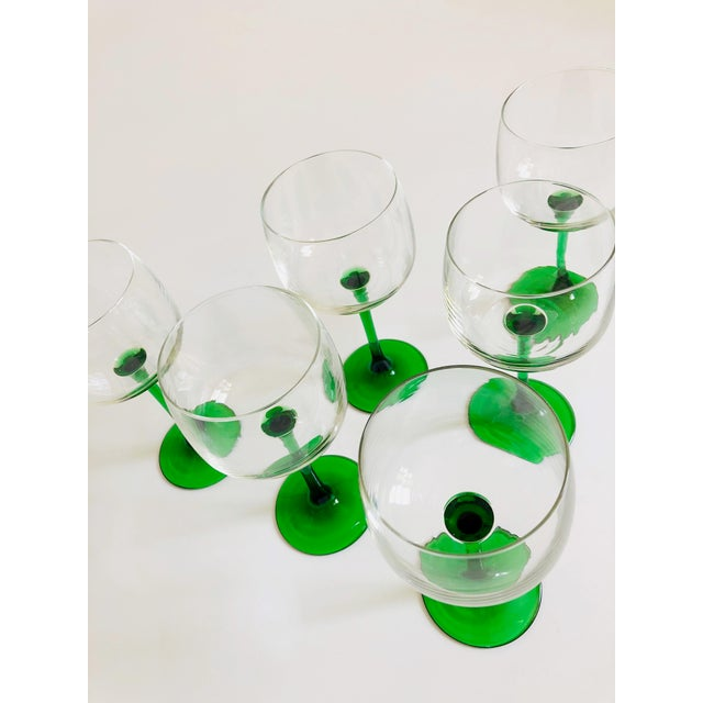 Mid-Century Modern Vintage Green Stemmed Wine Glasses - Set of 6 For Sale - Image 3 of 6