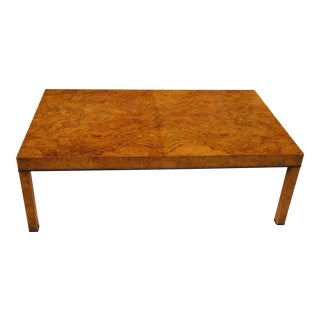 Collectible 1962 Baker Burl Olive Wood Parsons Style Coffee Table For Sale