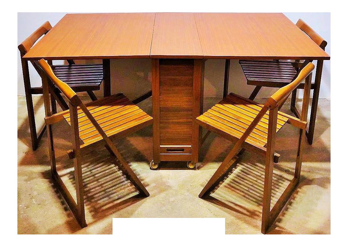 Hideaway Furniture Gun Mid Century Modern Teak Gatefold Hideaway Folding Table With Chairs Set Chairish Chairish Mid Century Modern Teak Gatefold Hideaway Folding Table With Chairs