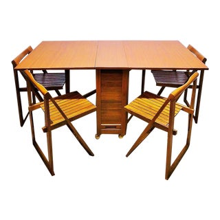 Mid Century Modern Teak Gatefold Hideaway Folding Table With Chairs Set For Sale