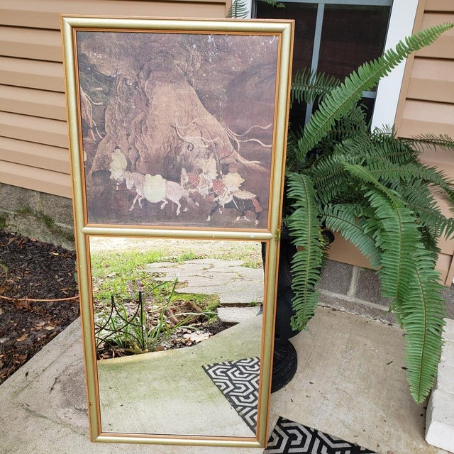Vintage Asian Chinoiserie Trumeau Wall Mirror With Top Framed Print Motif Hall Gold For Sale - Image 10 of 10