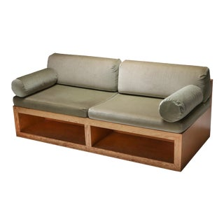 1960s Pitch Pine and Velvet Love Seat Sofa For Sale