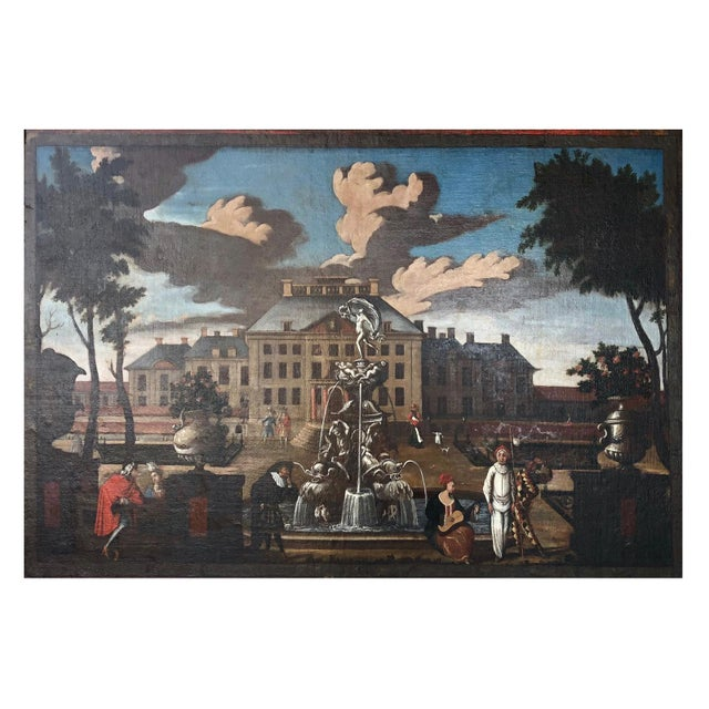 """17th Century 17th Century Dutch School """"Palace Courtyard"""" Painting For Sale - Image 5 of 11"""