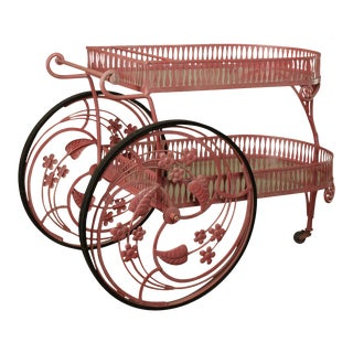 Salterini Vintage Ornate Wrought Iron 2 Tier Bar Cart For Sale