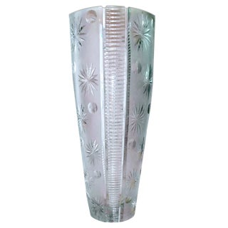 1960s Monumental Bohemian Full Lead Crystal Starburst Astro Cut Floor Vase For Sale