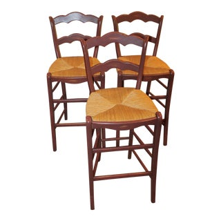 French Country Bar Counter Stools - Set of 3 For Sale