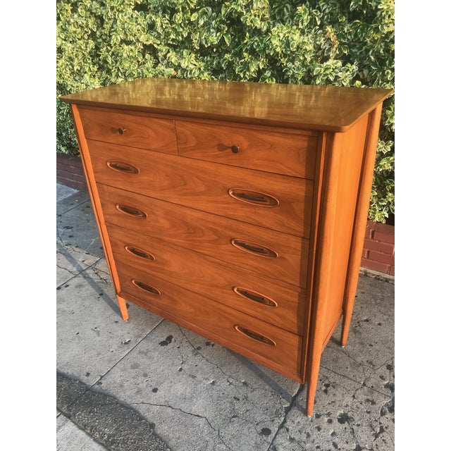 Brown Mid-Century Tall Boy Dresser by Morganton For Sale - Image 8 of 13