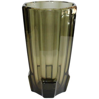 Art Deco Faceted Black Glass Vase in the Style of Moser, 1930's For Sale