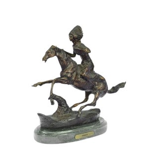 Native American Warrior Bronze Sculpture on Marble Base For Sale